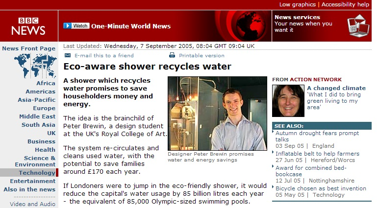 BBC news Story on CINTEP Recycling Shower